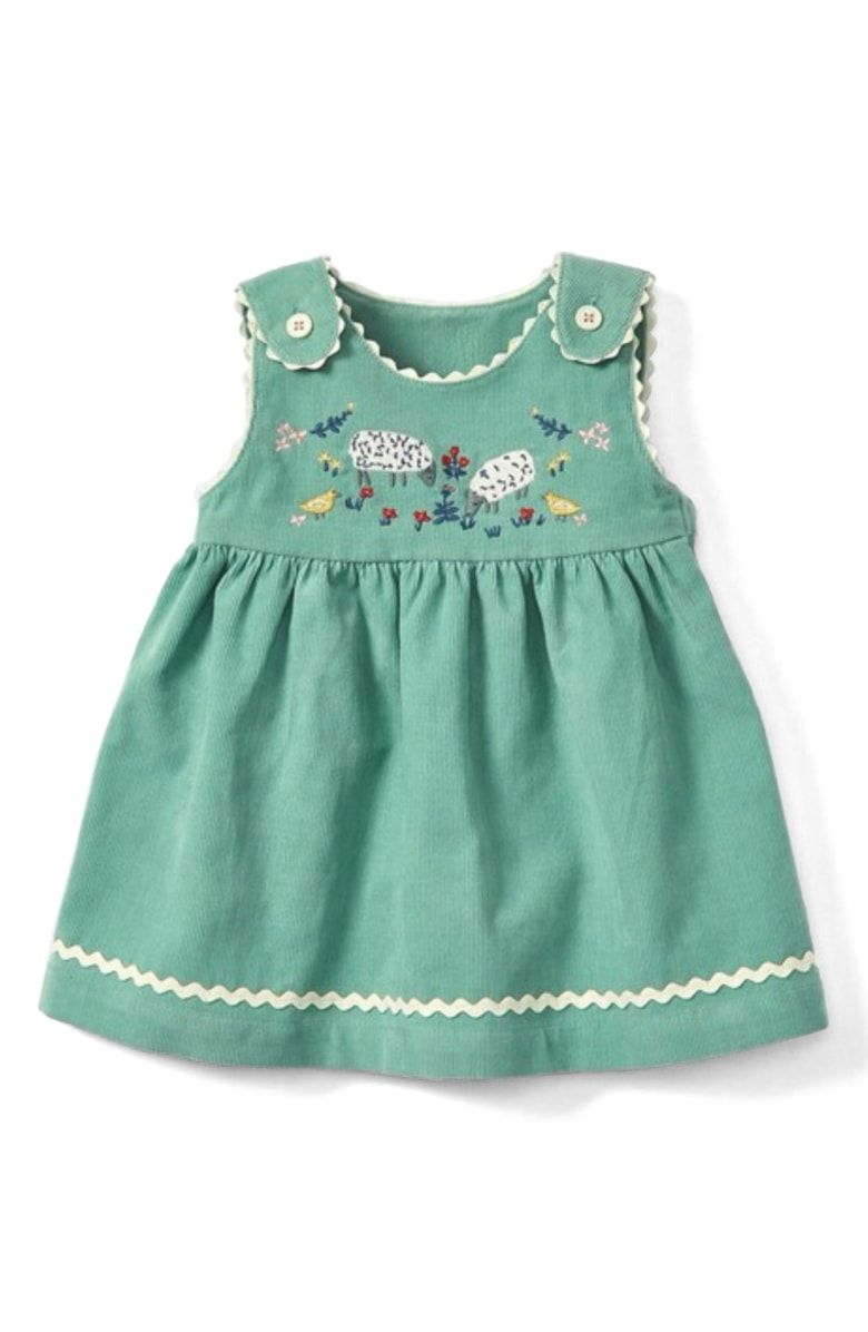 0dfd8955bd603 Free shipping and returns on Mini Boden Farmyard Friends Corduroy Dress  (Baby Girls & Toddler Girls) at Nordstrom.com. Rickrack trim and an  embroidered ...