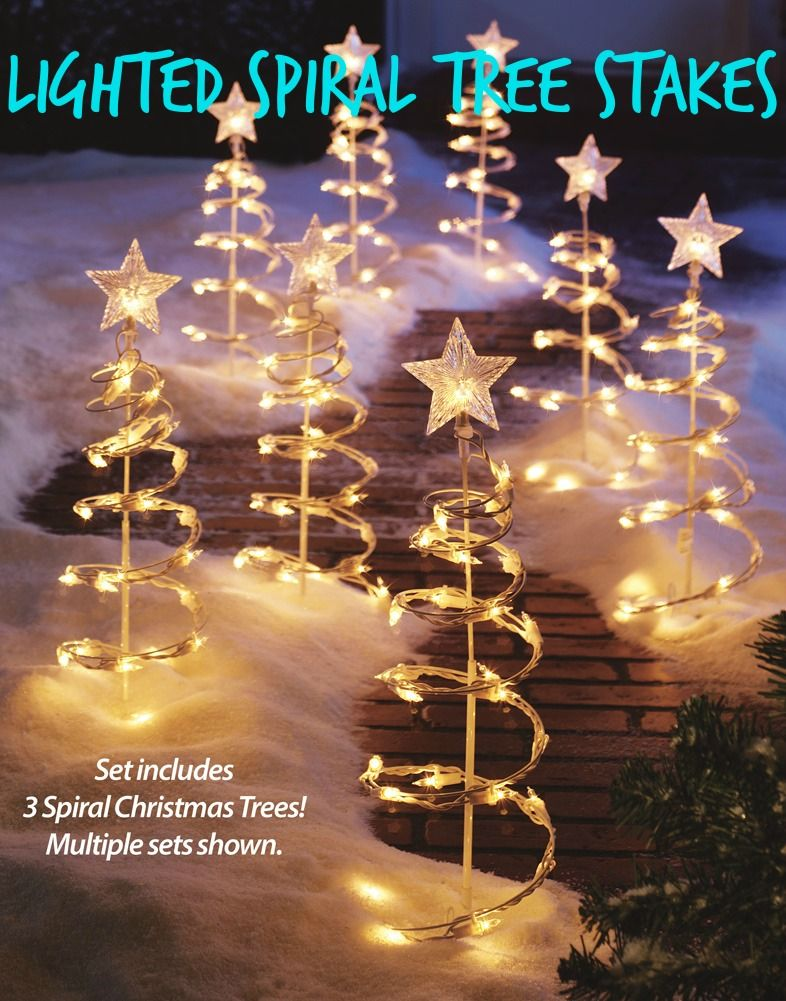 christmas outdoor decorations lighted spiral tree stakes use several sets to make a unique winter wonderland