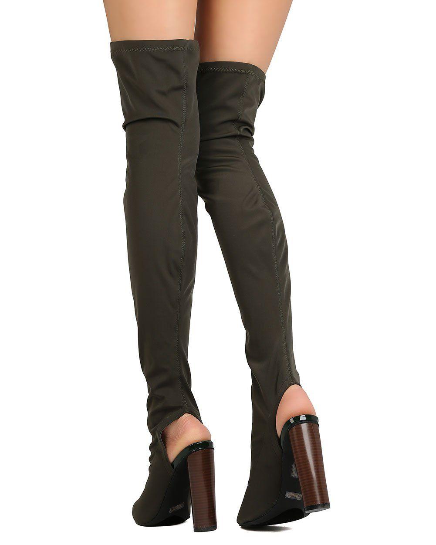 57d08182059 CAPE ROBBIN GA87 Women Thigh High Peep Toe Cutaway Chunky Heel Boot Olive  Size  6.5