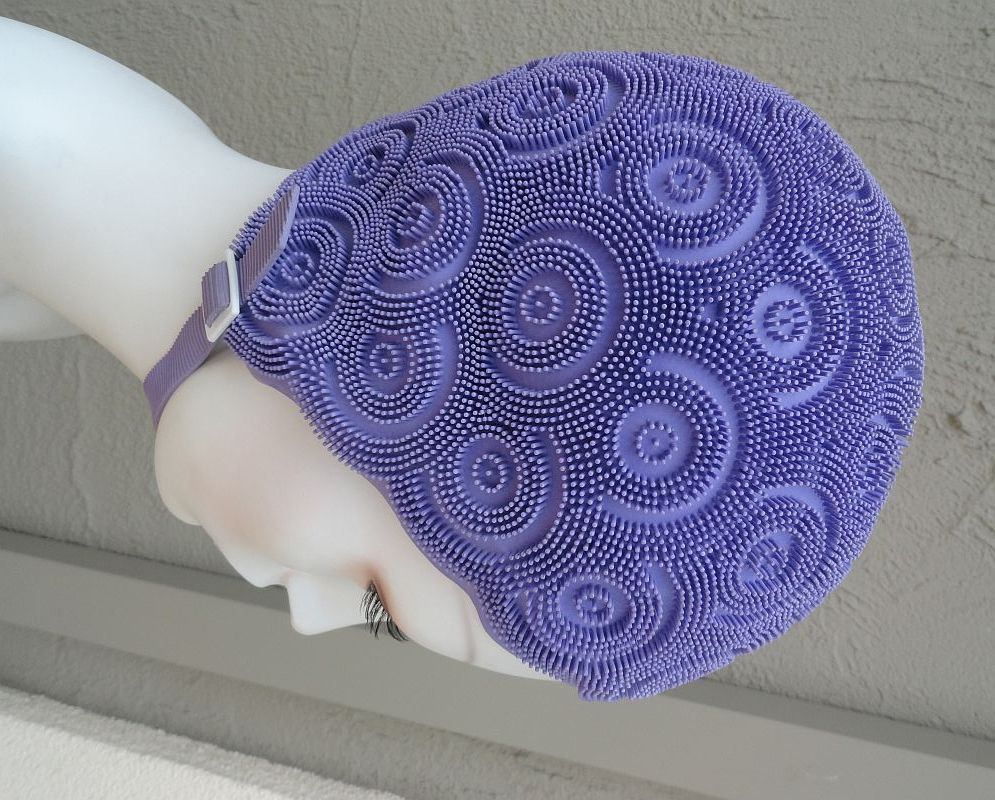 1960s Kleinerts Purple Swim Cap With Chin Strap Made In