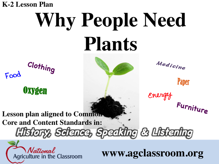 K-2 lesson plan teaching that plants provide people with food, clothing…