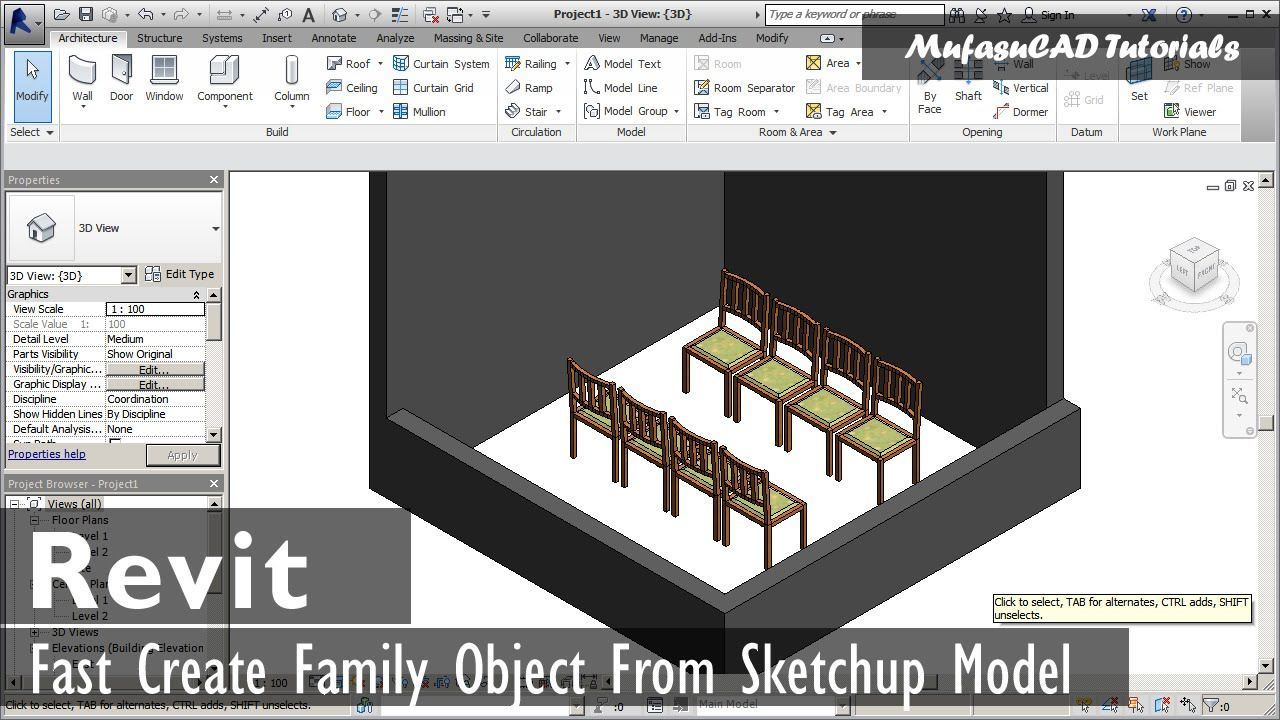 Revit Family Creation Tutorial From Sketchup Model Con Imagenes