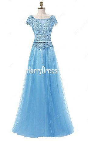 Blue A Line Scoop Neck Lace Tulle Floor Length Beading Cap Straps Prom Dress