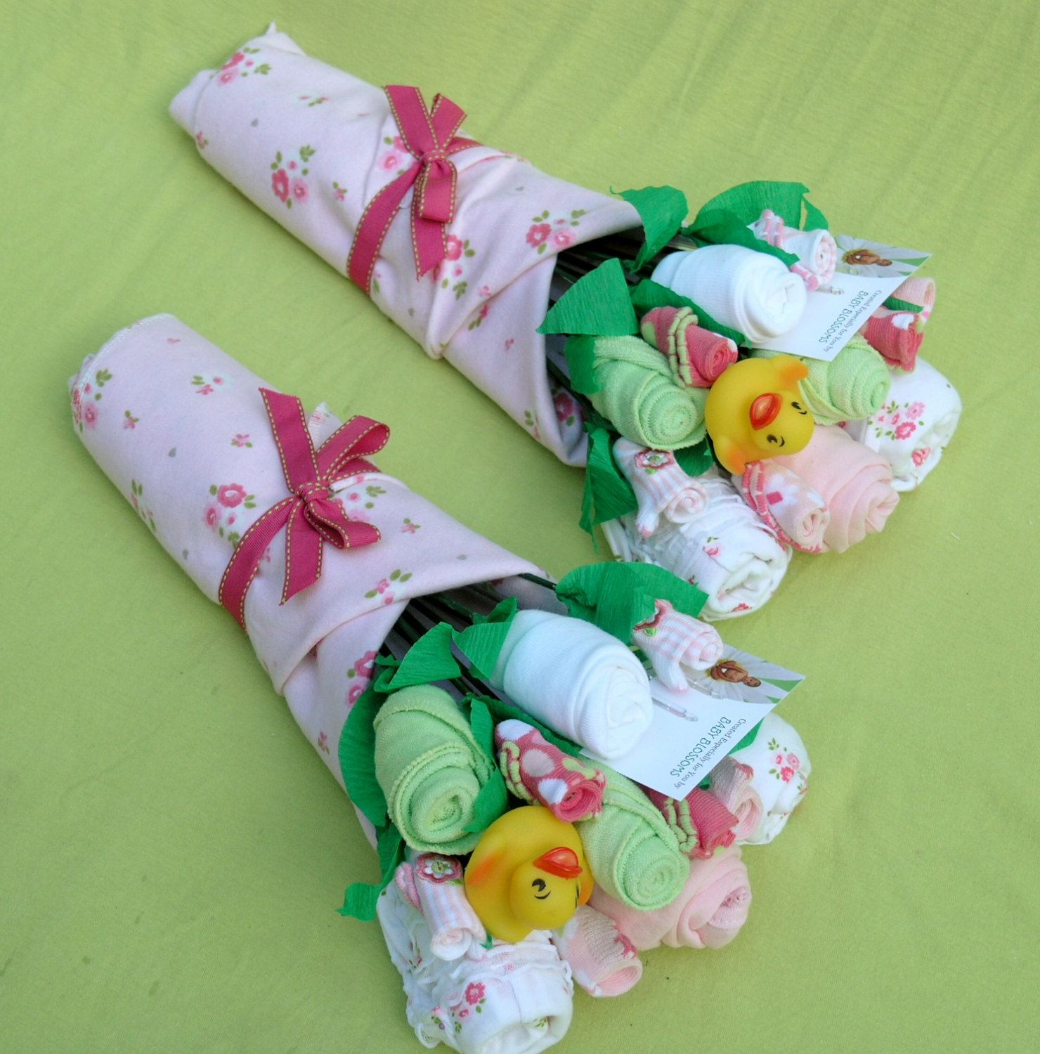 Unique Trendy Baby Gifts : Twin girl gift bouquets unique baby shower by
