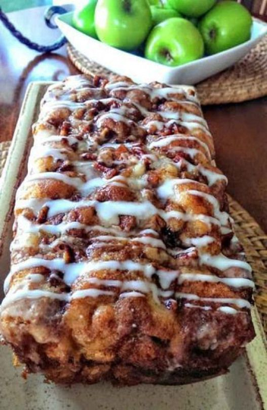 Awesome Country Apple Fritter Bread Recipe - Fluffy buttery white cake loaf loaded with chunks of apples and layers of brown sugar and cinnamon swirled inside and on top. Simply Irresistible! baking