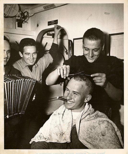 Coast Guardsman Receives Haircut World War 2 Pinterest Barber
