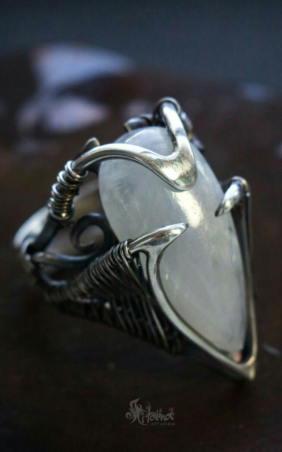 Silver moonstone ring. Wire wrapping | Кольца | Pinterest ...