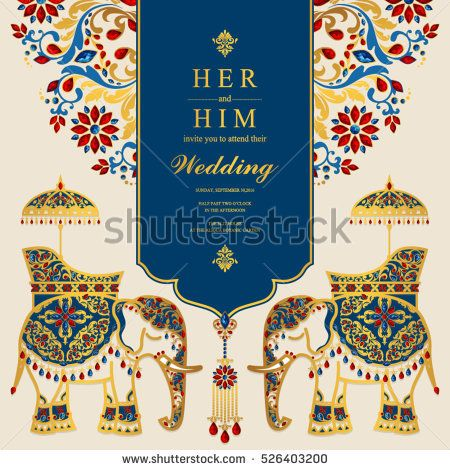 Image Result For Golden Border Indian Invitation Elephant