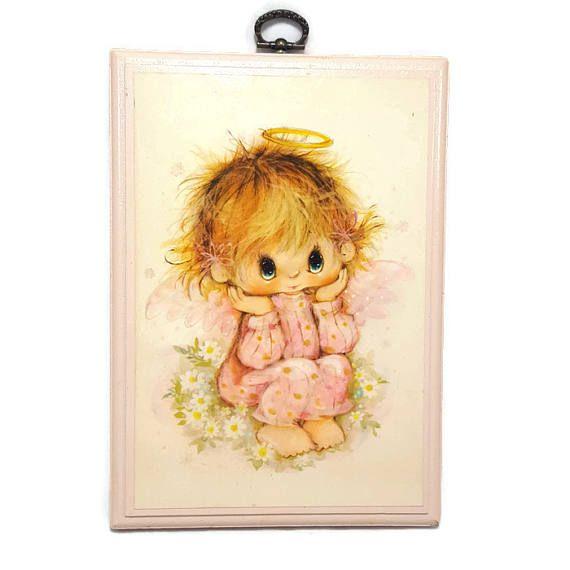 Vintage Little Angel Wood Wall Plaque Hallmark Pink Baby Nursery Art 8x6 Eye By Pinkflyingpenguin