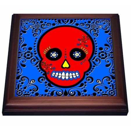 3dRose Day of the Dead Skull D?a de los Muertos Sugar Skull Red Blue Black Scroll Design, Trivet with Ceramic Tile, 8 by 8-inch