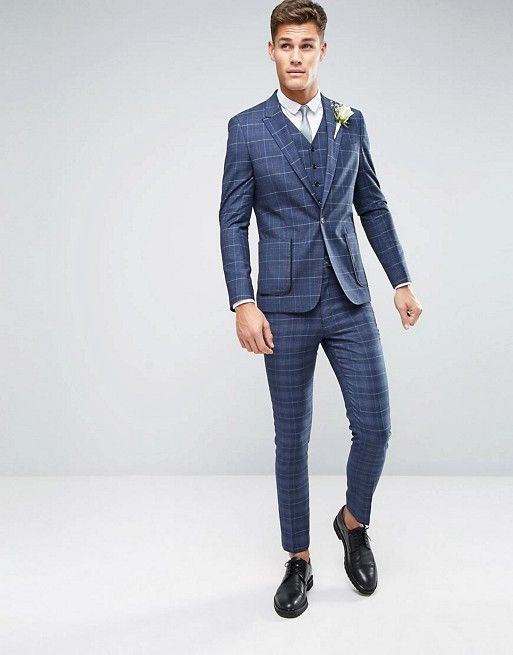 ASOS WEDDING Skinny Suit In Check. So stylish and bold! | Aisle ...