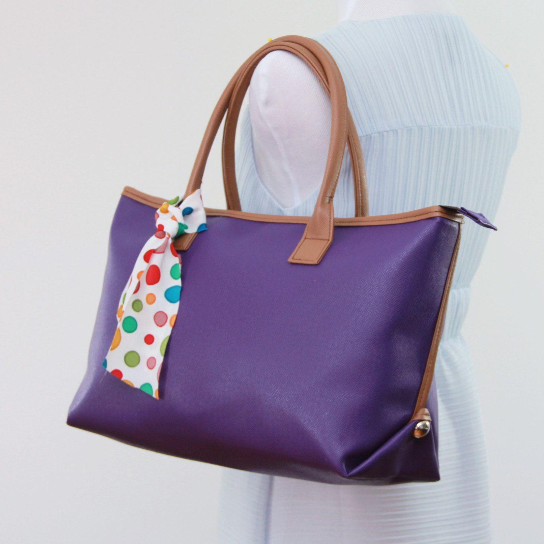 medium Tote Bag Faux leather purse monogram Padded handbag Structured tote, carry all, travel, school bag, everyday bag, laptop bag. by bennaandhanna on Etsy