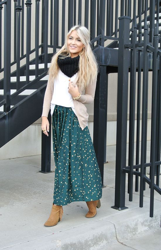 Picture Of stylish and comfy winter maxi skirt outfits 7 in