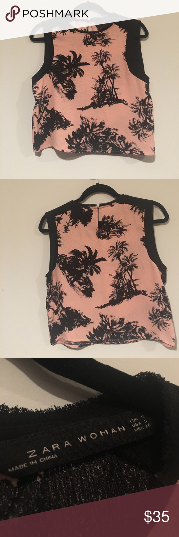 Zara Blouse Zara Pink and Black Silk Blouse With Palm Trees   NWOT no flaws / signs of wear  Size Small  Tags zara forever 21 hm nasty gal massimo dutti pull and bear Uniqlo Zara Tops Blouses