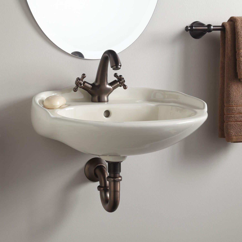 Victorian Mini Porcelain Wall Mount Sink Small Bathroom Sinks