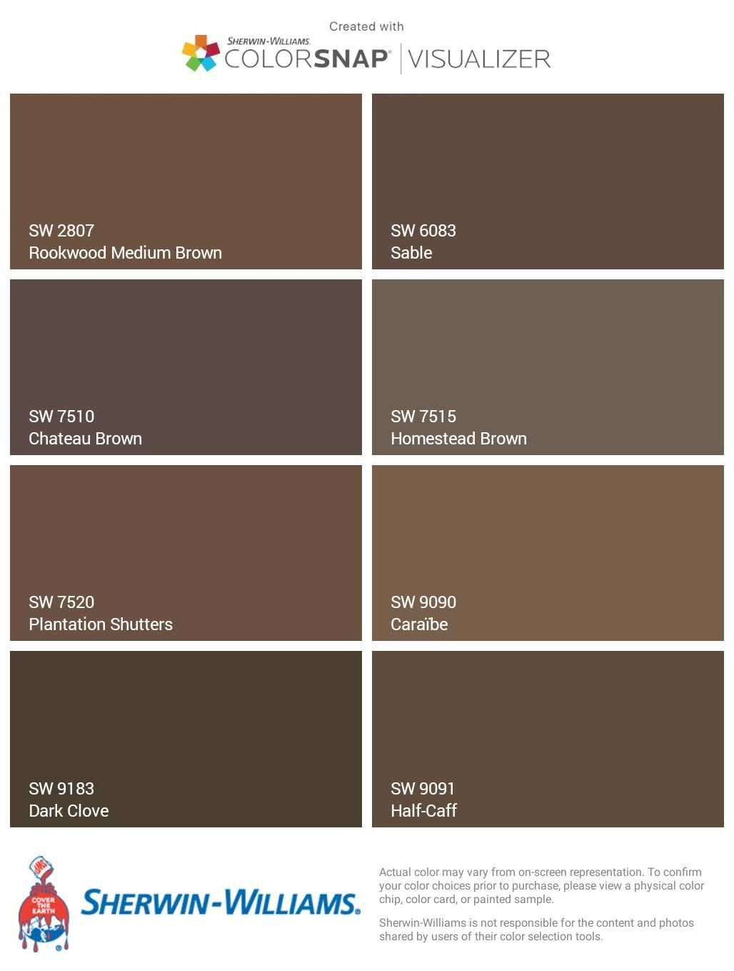 Sherwin Williams Browns Rookwood Medium Brown Sw2807 Sable Sw6083 Cau Sw7510 Homestead Sw7515 Plantation Shutters Sw7520 Caraïbe