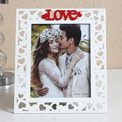 5x7 Wooden Photo Frame In White With The Word Love In Red