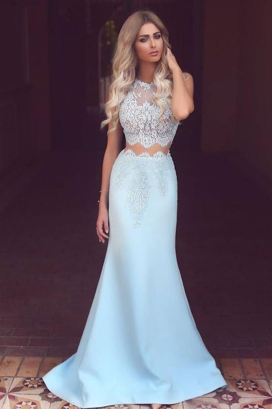 Photo of Elegant Two Piece Mermaid Blue Lace High Neck Cap Sleeve Satin Pr