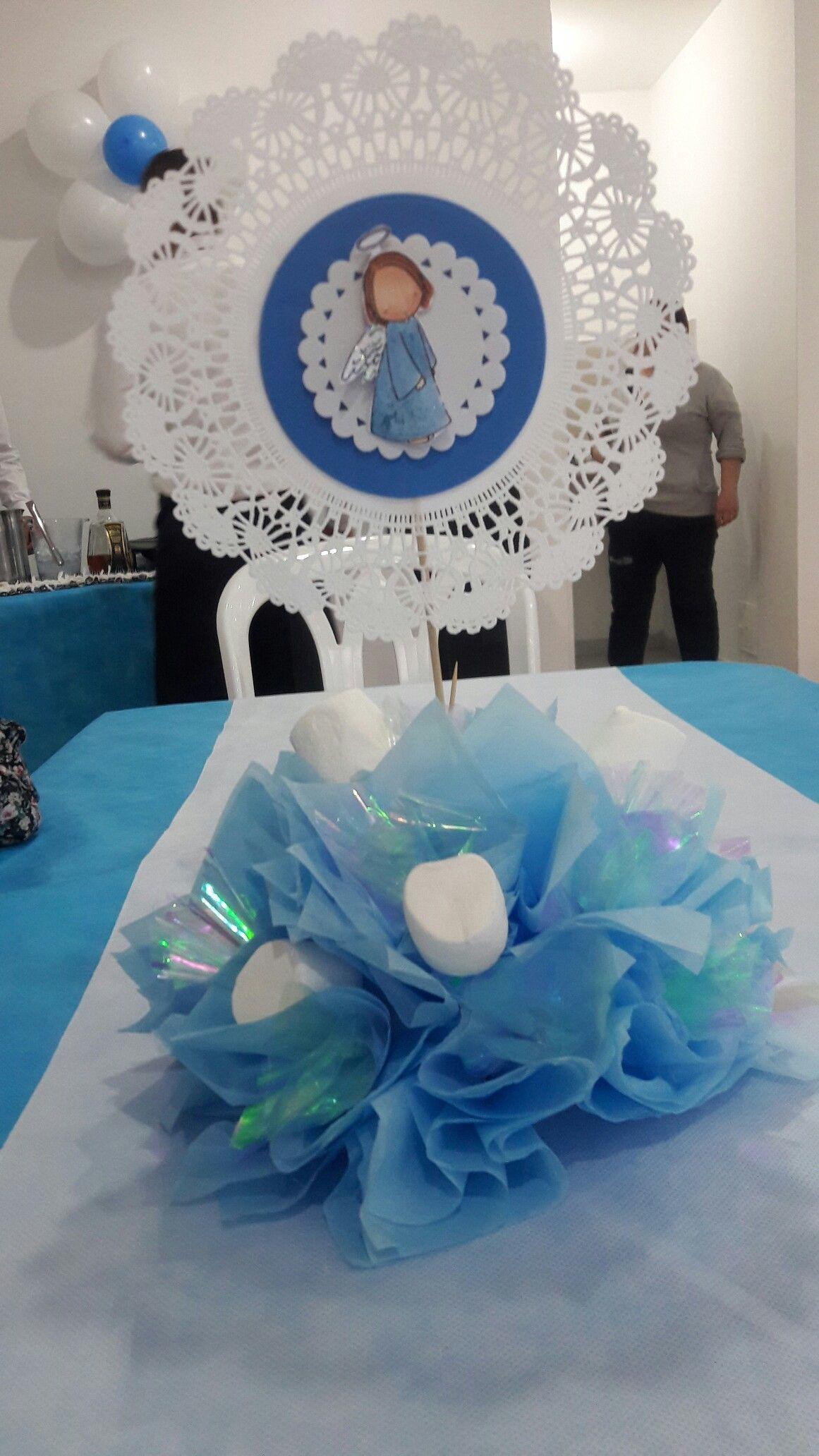 Centro de mesa bautizo o primera comunion primera - Farolillos de papel ...