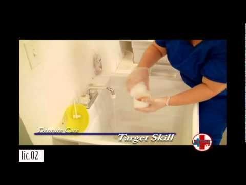 Provide Mouth Care For Resident With Dentures Nursing Programs Nursing Videos Nursing Assistant