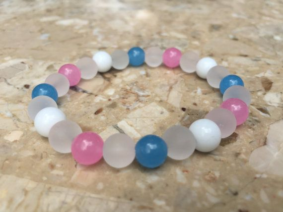 8mm Transgender Pride and Clear Bead by KharismasKreations on Etsy