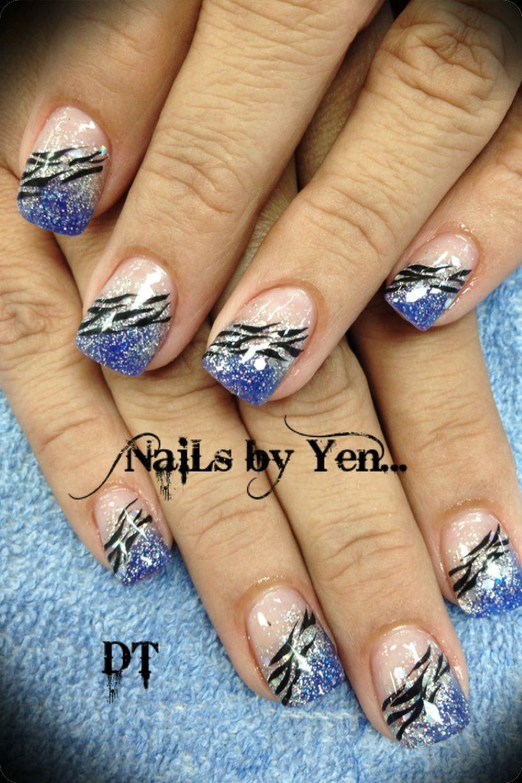 Extreme shine! Indigo blue and chunky silver acrylic nail design ...