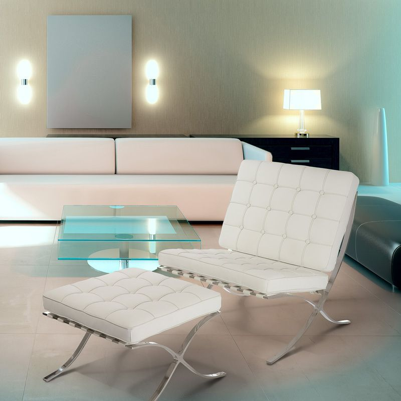 Pavilion Iconic Midcentury Modern Design White Leather Chair & Ottoman Set | eBay