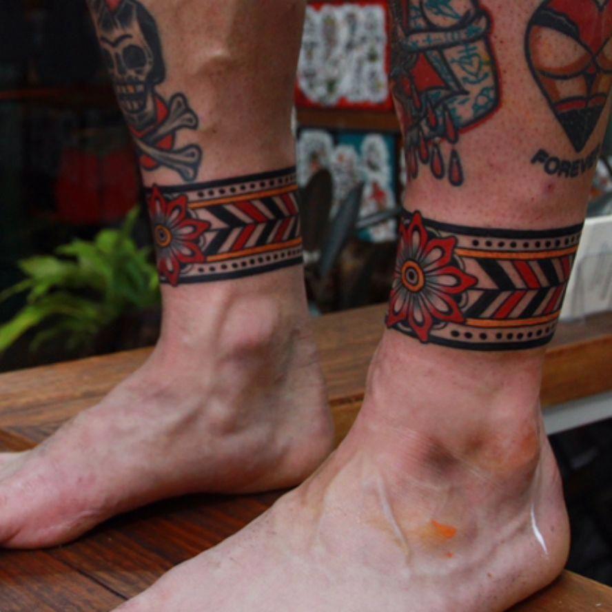 Cool Bracelet Tattoo For Men Cuff Tattoo Leg Band Tattoos Ankle Cuff Tattoo