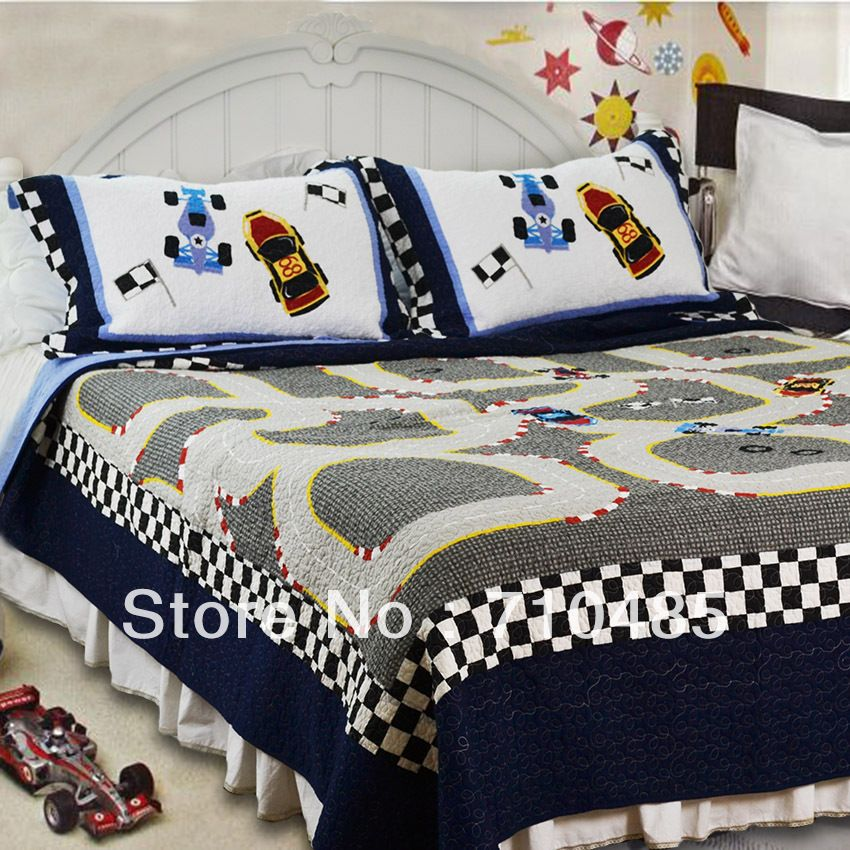 Free Shipping Mv Race Car Kids Bedding Set Formula 1 Racing Boys Tkids Lique Patchwork Quilt Bedspread 103 80