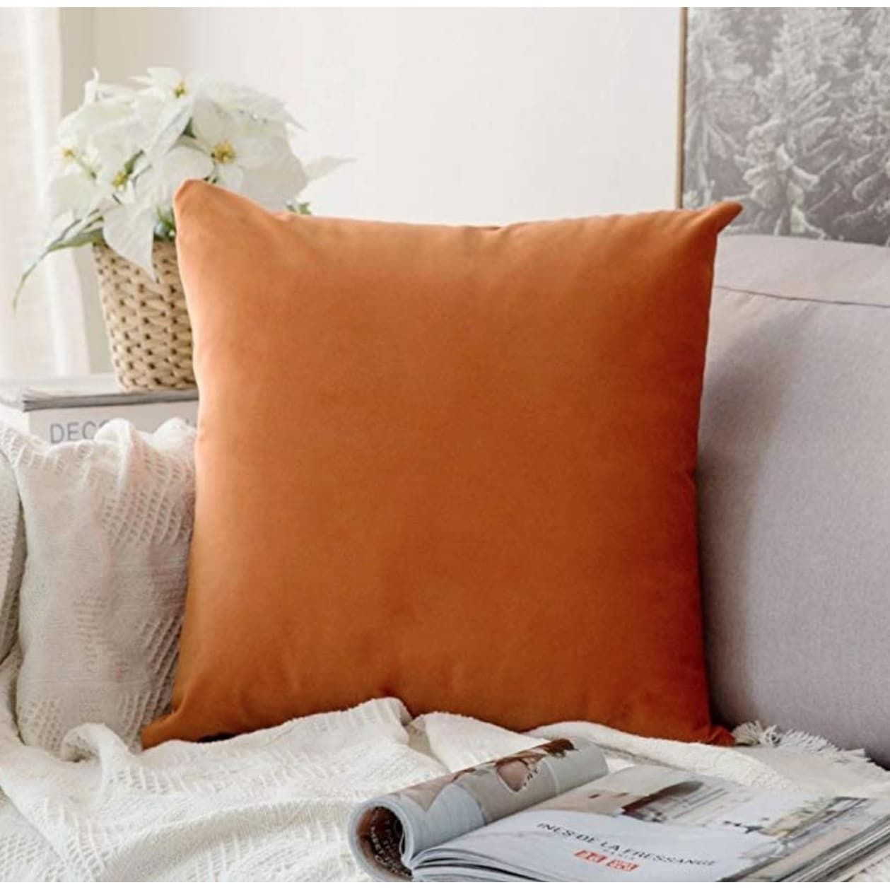Velvet Soft Solid Orange Pillow Cover 20 X 20 Polyester Bedroom Sofa Orange Pillows Pillows