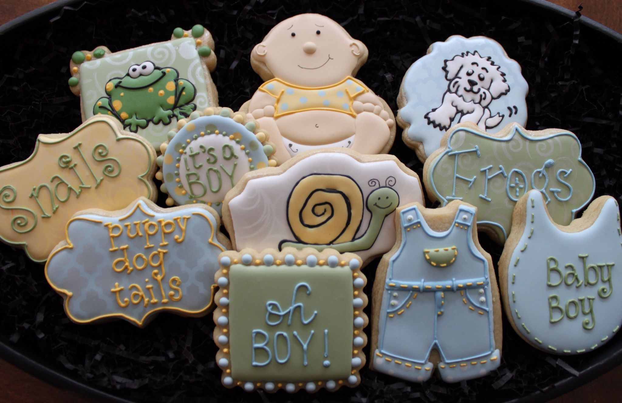 Frogs and Snails, and Puppy Dog Tails cookies by 4theloveofcookies.etsy.com