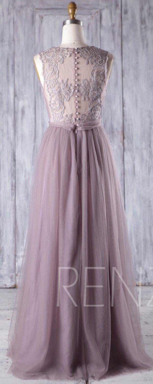 Dark Mauve Tulle Bridesmaid Dress, Deep V Neck Wedding Dress, Long ...