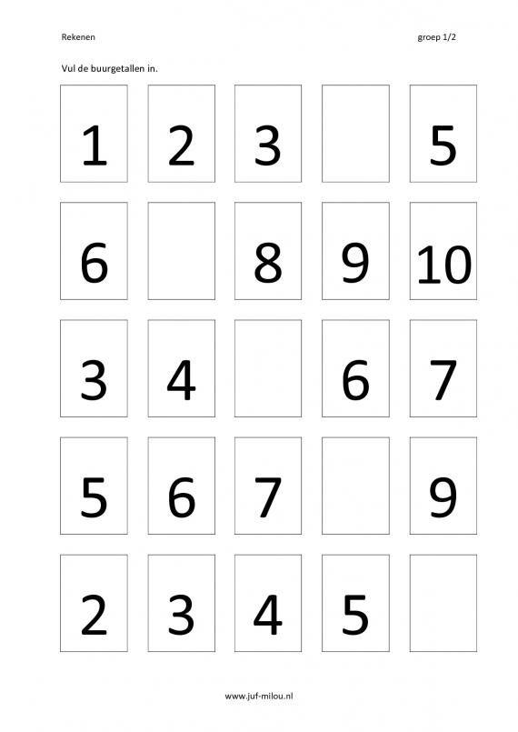 Werkbladen - rekenen - buurgetallen ~ Juf Milou | tellen en cijfers ...