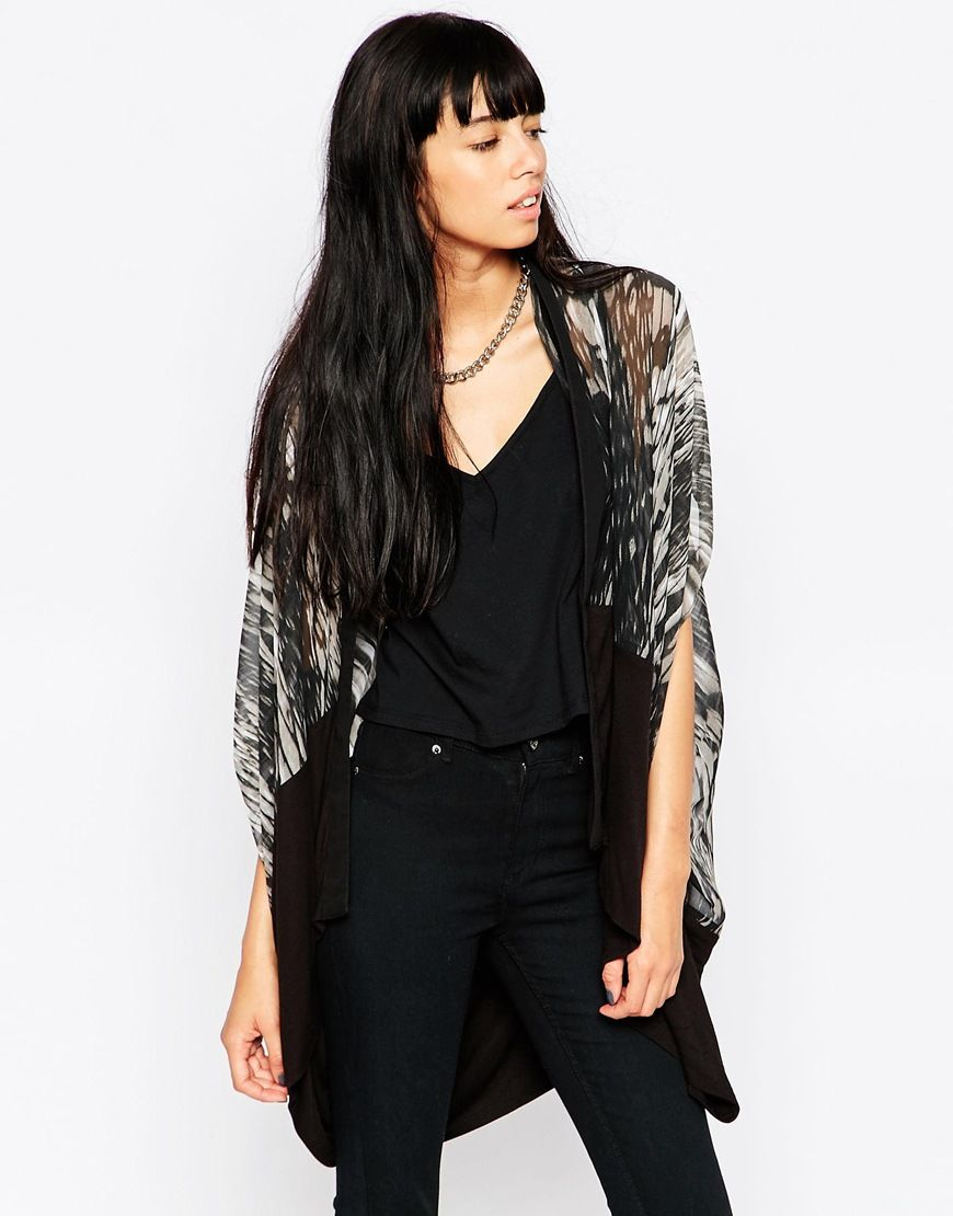 Cardigan by Religion Midweight chiffon Semi-sheer finish All-over ...