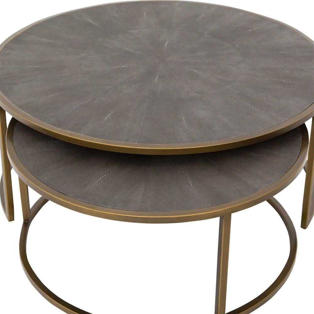 Massey Modern Regency Antique Brass Shagreen Round Nesting Round Coffee Table Nesting Coffee Tables Round Nesting Coffee Tables Coffee Table