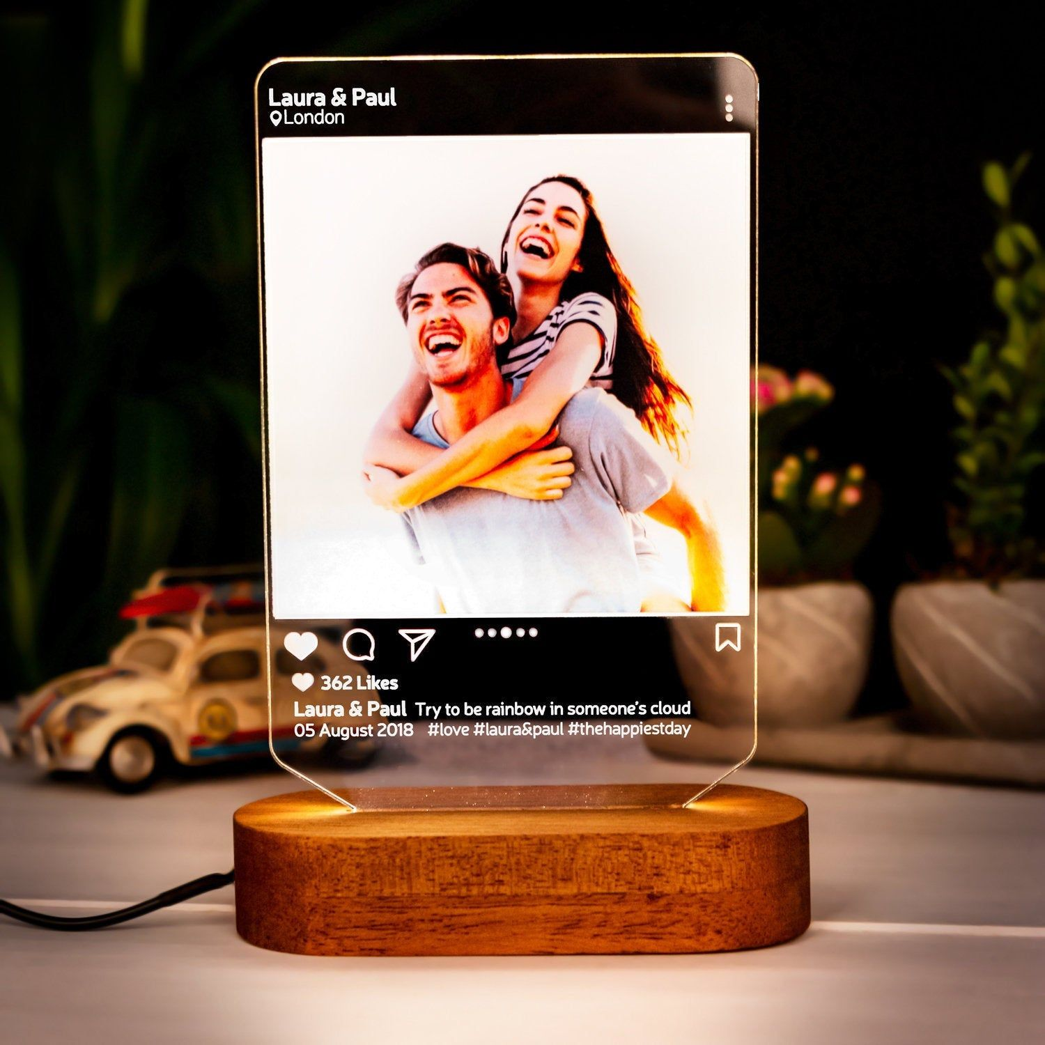 Instagram Style 3d Led Lamp Gift Personalised Lamp Gift For Etsy In 2020 3d Led Lamp Photo Lamp Anniversay Gifts