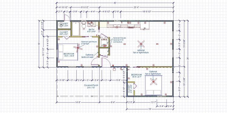 modern cabin 16x40 L shape 2bdr floorplan.jpg | Cabin ...