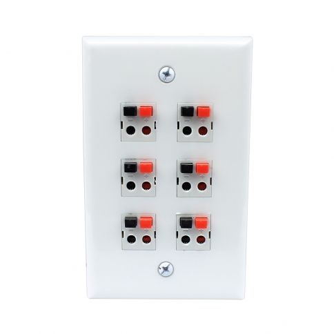 Banana Plug Wall Plate Custom 6 Port Dual Speaker Spring Clip Keystone Wall Plate  Wall Plates Decorating Design