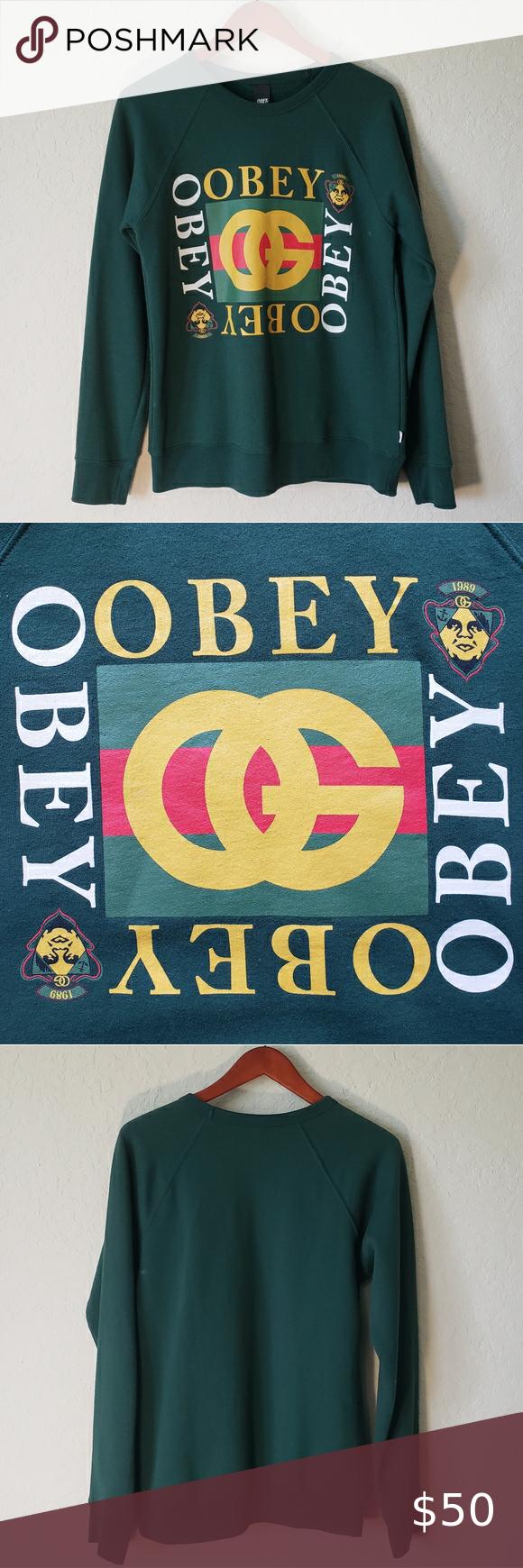 Vintage Obey Logo Og Gucci Crewneck Sweatshirt Obey Gucci Inspired Logo Og Made In Usa Green Small Crewnec Sweatshirts Crew Neck Sweatshirt Sweaters Crewneck [ 1740 x 580 Pixel ]