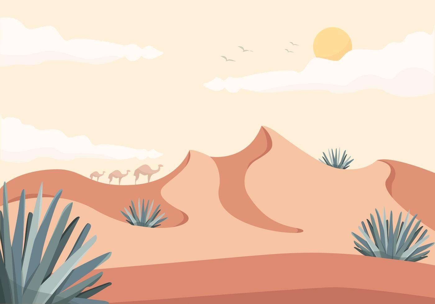 Vector Desert Landscape Illustration Landscape Illustration Desert Painting Desert Drawing