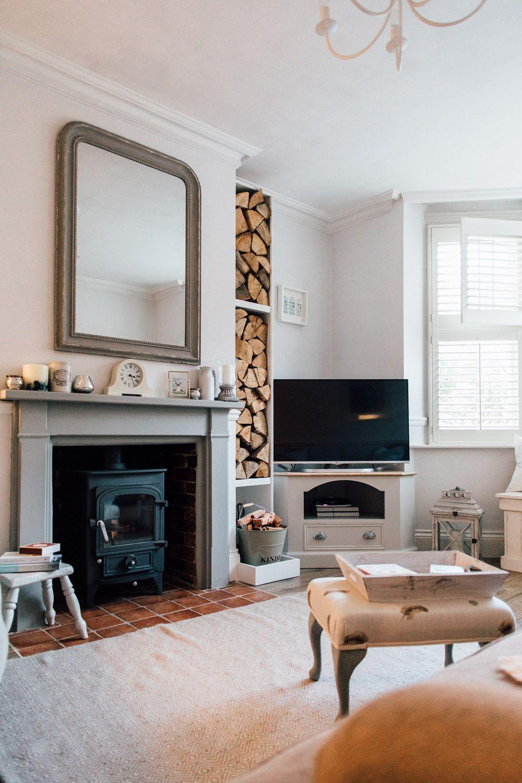 Log Burner And Stacked Logs Elle S Modern Country Sitting Room Modern Country Living Room Wood Burning Stoves Living Room Log Burner Living Room