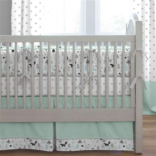 Mint And Gray Baby Woodland Crib Bedding Woodland Crib Bedding