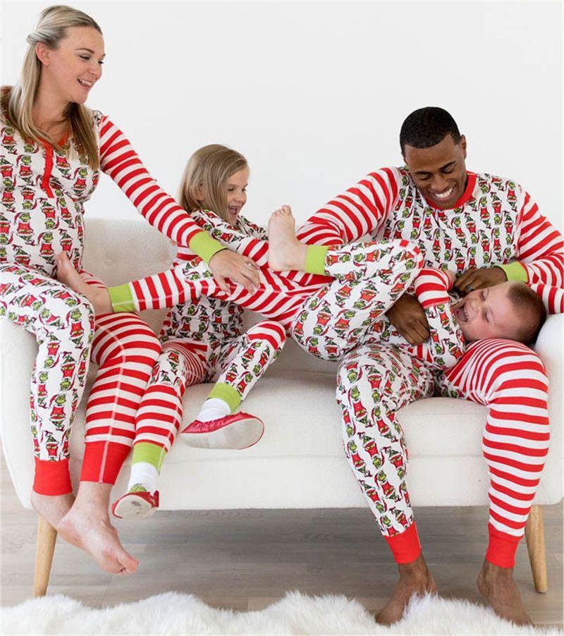 PUDCOCO Newest Hot 2018 Christmas Xmas Kids Adult Family Pajamas Set  Striped Sleepwear Nightwear Casual Rompers Costume 22c592dd9