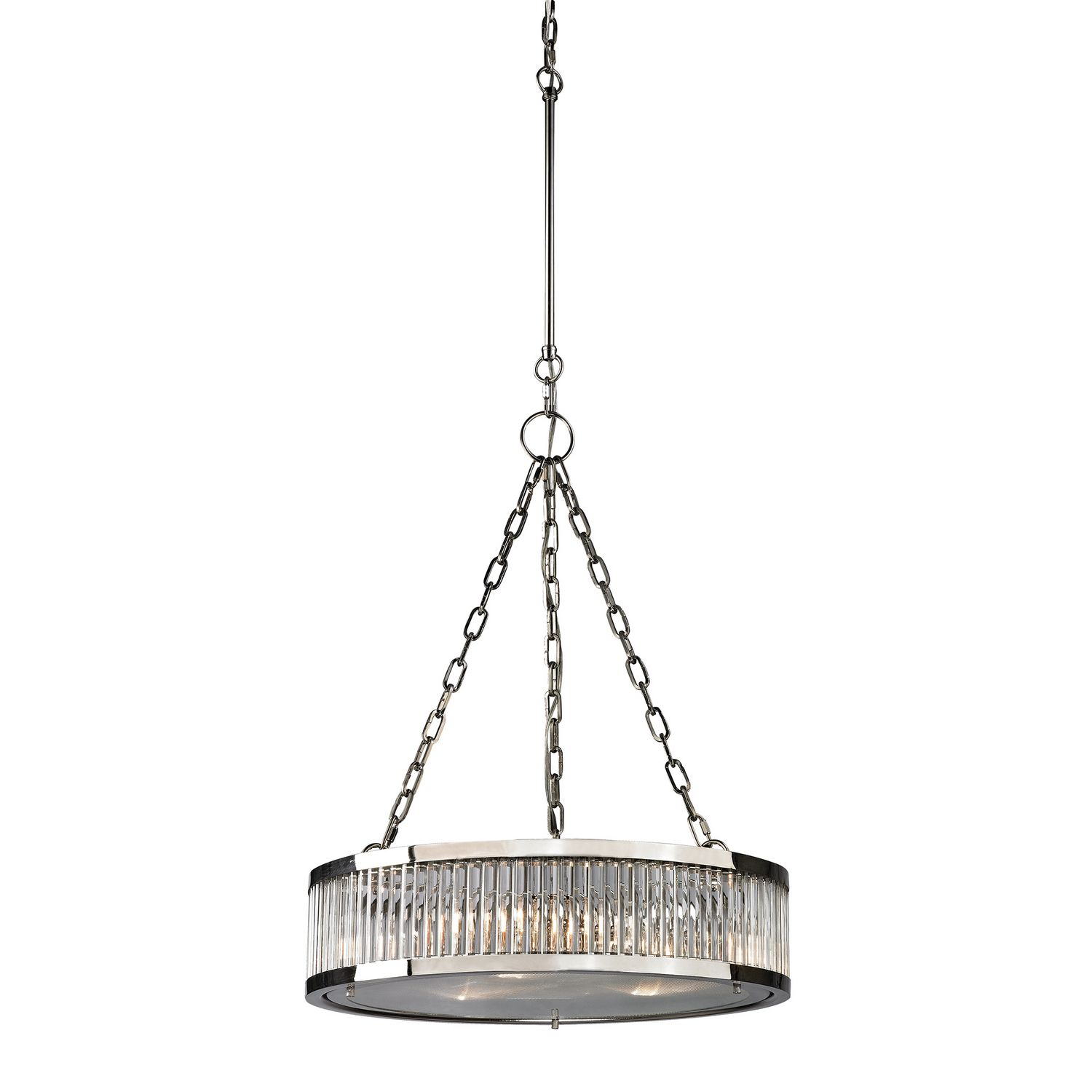 Textured metal brushed nickel drum shade chandelier