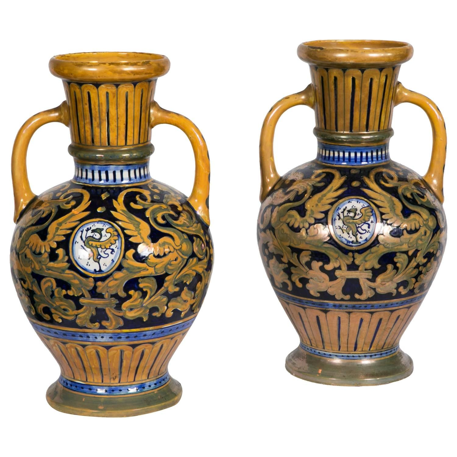 Pair of italian lusterware vases in majolica signed sdr societ pair of italian lusterware vases in majolica signed sdr societ della robbia reviewsmspy