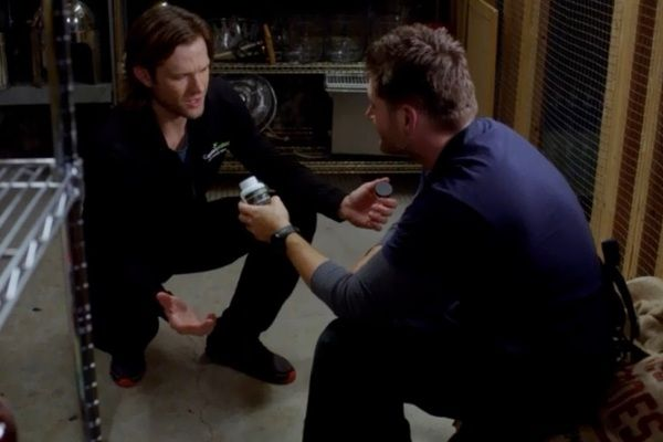 """""""How do you know what roofies look like?"""" Dean: """"These aren't supplements, they're roofies."""" Sam: """"How do you know what roofies look like?..."""