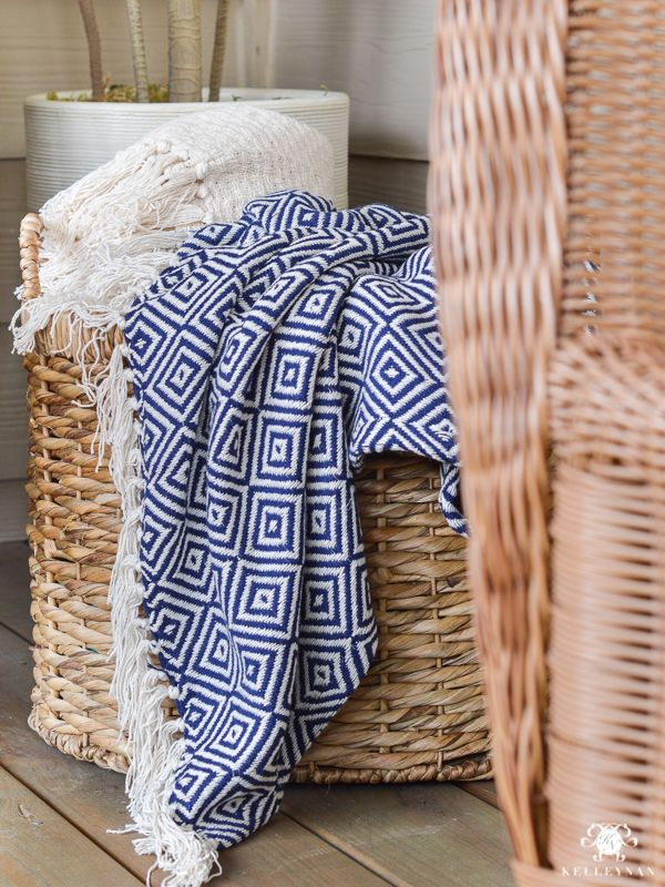 Cozy Basket Of Outdoor Throws For Chilly Summer Nights   Ideas To Make Your  Porch An. Porch MakeoverTuesday MorningOutdoor ...