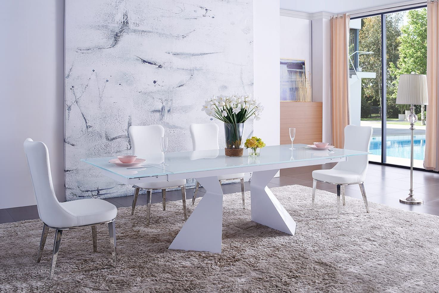 21+ White glass dining table and chairs Top