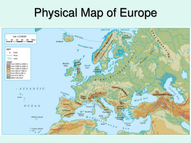 Physical Map Europe Peninsulas