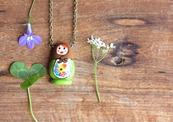 Hand-Painted Russian Doll Necklace, Floral Nesting Doll Jewelry, Matryoshka Necklace, Matryoshka Doll Necklace, Nesting Doll Necklace by bytherockandweed on Etsy